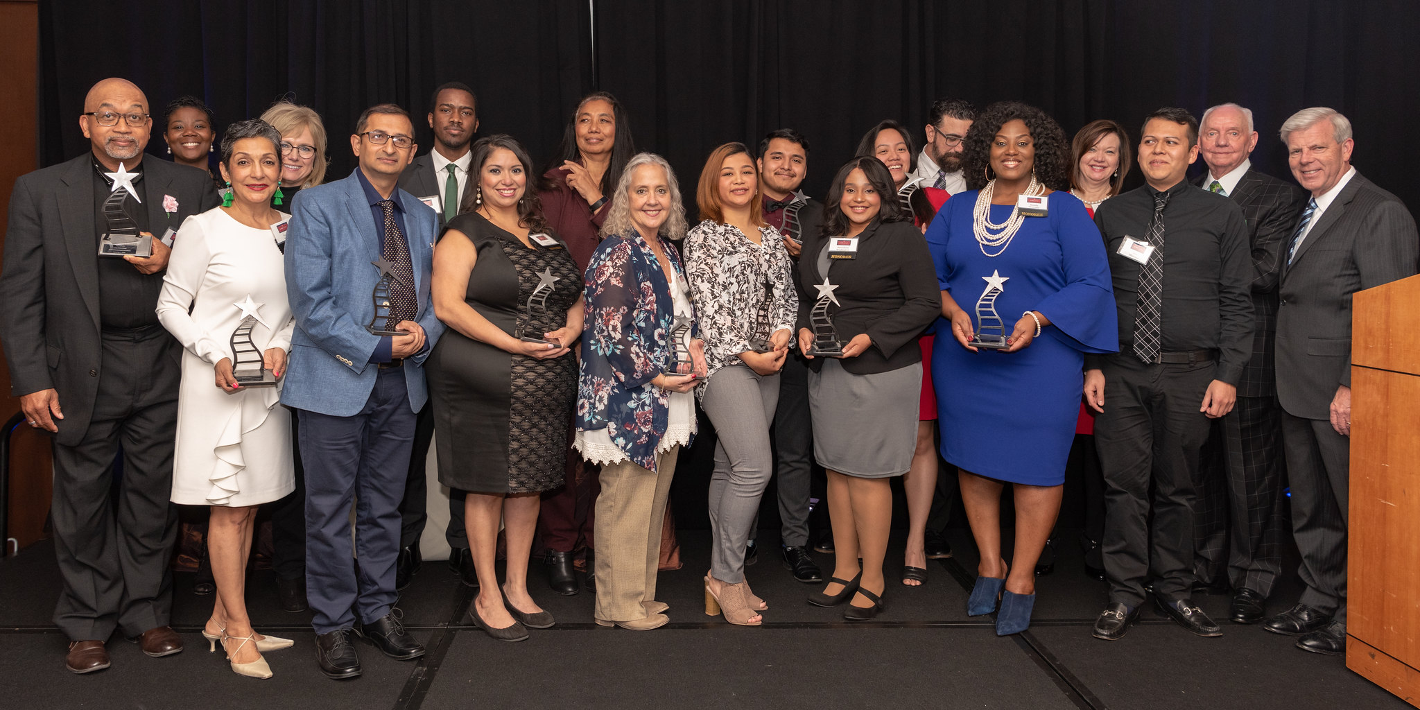 2018 Alumni Award Honorees with Dr. May and Dr. Wilkins
