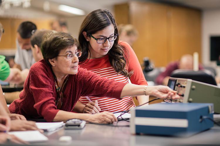 STEM Faculty Fellow Anahita Sidhwa and STEM Scholar Delia Pena at BH-physics lab