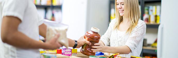 Student at food pantry