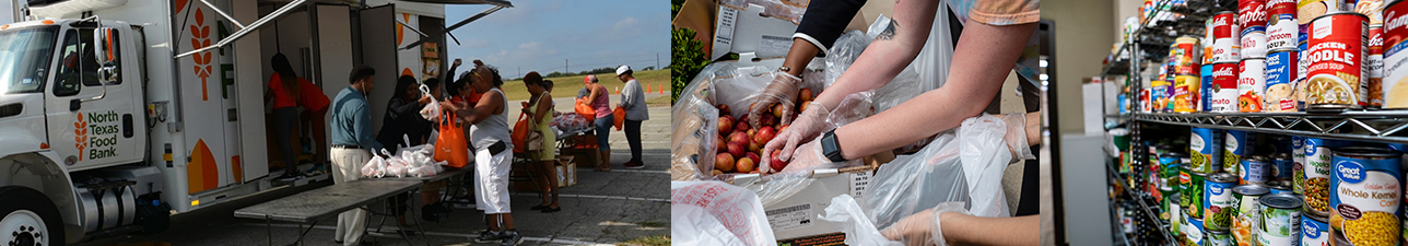 Dallas College Employees giving out food at the Campus Food Pantry