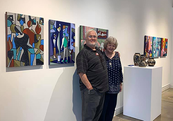 Marty and Richard at an Art Exhibit