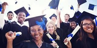 Graduates in  cap and gowns